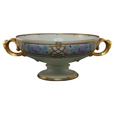 "Rosenthal Selb Bavaria Enameled Floral Design Centerpiece Bowl with Figural Handles (Signed ""J.S.D.""/Dated 1922)"