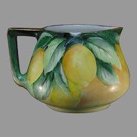 """B&Co. Limoges Lemon Design Cider/Lemonade Pitcher (Signed """"May Gamton""""/Dated 1917)"""