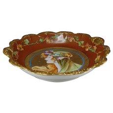 "Coiffe Limoges ""Posteresque Placque"" Autumn Lady Design Bowl (c.1900-1930) - Keramic Studio Design"