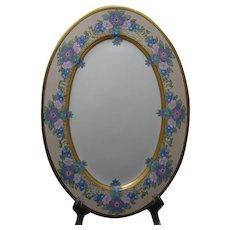 "Rosenthal Bavaria Enameled Floral Design Plate/Platter (Signed ""Burnham""/c.1910-1930) - Keramic Studio Design"