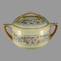 """Rosenthal Bavaria Enameled Floral Design Biscuit Jar (Signed """"Mary Elizabeth Schaus""""/Dated 1911)"""