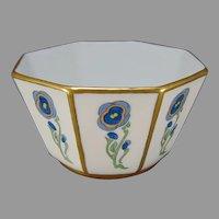 """Union Ceramique (UC) Limoges Floral Design Bowl Signed """" E. Holmes""""/c.1910-1930)"""