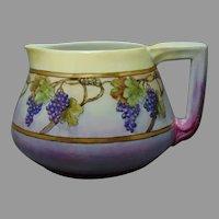 "D&Co. Limoges Grape Design Cider/Lemonade Pitcher (Signed ""S. Morrow""/Dated 1910) - Keramic Studio Design"