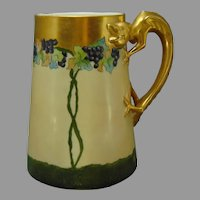 "Lenox Belleek (American) Grape Design Dragon-Handled Tankard/Mug (Signed ""Ella Anderson""/Dated 1910) - Keramic Studio Design"