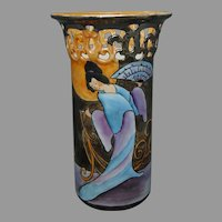 "PSAA Bavaria Japanese Geisha Design Vase (Signed ""O. Jury""/c.1923-1930) - Keramic Studio Design"