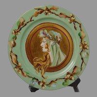 "JP Limoges ""Posteresque Placque"" Autumn Lady Design Plate (c.1900-1930) - Keramic Studio Design"