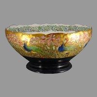"T&V Limoges Peacock Design Punch/Centerpiece Bowl (Signed ""N.R. Dunn""/c.1910-1930)"
