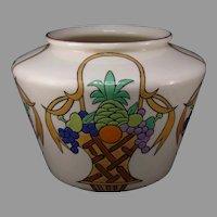 """Willets Belleek Enameled Fruit Basket Design Vase/Planter (Signed """"L.B.""""/c.1910-1930)"""