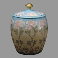 "T&V Limoges ""Wild Rose"" Design Biscuit Jar (Signed ""Crystobel M. Baird""/Dated 1924) - Keramic Studio Design"