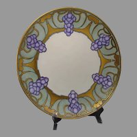 """T&V Limoges Grape Design Charger/Plate (Signed """"I.M.C.""""/Dated 1919)"""
