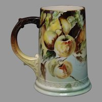 "Ceramic Art Company (CAC) Belleek (American) Apple Design Tankard/Mug (Signed ""Anna Langham""/Dated 1903)"