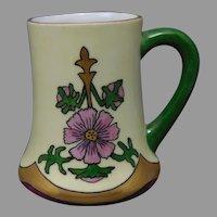 """H&Co. Bavaria Pink Floral Design Mug/Cup (Signed """"Evans""""/c.1910-1930)"""