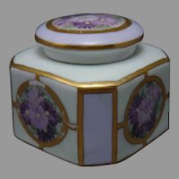 RS Germany Enameled Aster/Floral Design Inkwell (c.1904-1930)