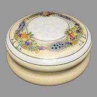 """T&V Limoges Peacocks & Fruit Design Covered Jar (Signed """"E.A. Jahn""""/c.1909-1930) - Keramic Studio Design"""