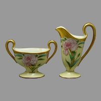 "JP Limoges Carnation Design Creamer & Sugar Set (Signed ""E.S.P.""/c.1905-1920)"