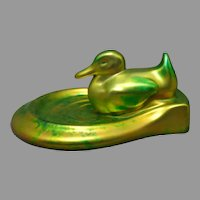 Zsolnay Hungary Eosin Green Duck Dish/Card Tray (c.1920-1940)