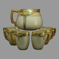Lenox Belleek California Poppy Design Cider Pitcher & Mug Set (c.1906-1924)