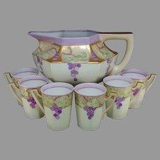Limoges Grape Design Cider/Lemonade Pitcher & Cup Set (c.1910-1930)