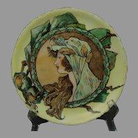 """Rosenthal Bavaria """"Posteresque Placque"""" Autumn Lady Design Plate (Signed """"Shover""""/c.1900-1930) - Keramic Studio Design"""