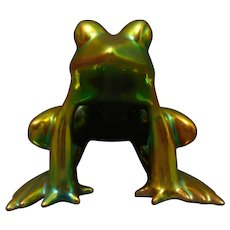 Zsolnay Hungary Eosin Green Frog Figurine (c.1920-1940)