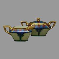 JP Limoges Floral Design Creamer & Sugar Set (c.1910-1930)