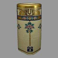 """American Satsuma Enameled Floral Design Vase (Signed """"A. Strum""""/c.1910-1930)"""