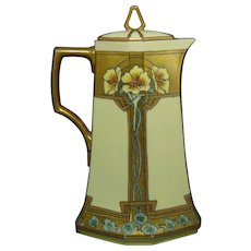 "MZ Austria ""Conventional Geraniums"" Chocolate/Coffee Pot (c.1914-1930's) - Keramic Studio Design"