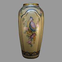 """B&Co. Limoges Bird & Floral Design Vase (Signed """"Carr""""/c.1910-1930's)"""
