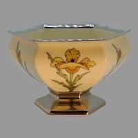 "Lenox Belleek Floral & Platinum Design Pedestal Bowl/Dish (Signed ""E.M.""/c.1910-1930's)"