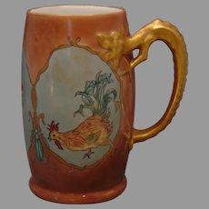 "JP Limoges Rooster & Insect Design Dragon-Handled Tankard/Mug (Signed ""B.C. Hibbard""/Dated 1903) - Keramic Studio Design"