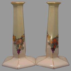 Lenox Belleek Fruit Garland Design Candlesticks (c.1914-1930's) - Keramic Studio Design