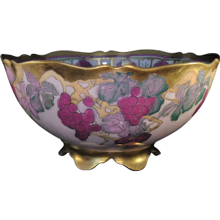 "D&Co. Limoges Lustre Grape Design Centerpiece/Punch Bowl (Signed ""----- Ragg""/Dated March 1912 – Appleton, Wisc.) - Keramic Studio Design"