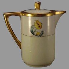 "Hass & Czjzek Schaggenwald Czechoslovakia Floral Design Syrup Pitcher (Signed ""H. Broman""/c.1922-1940's) - Keramic Studio Design"