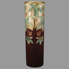 """WG&Co. Limoges Leaf & Berry Design Vase (Signed """"E.L. Alfree""""/c.1910-1930's)"""