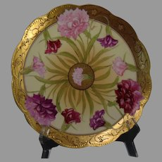 "D'Arcy's Art Studio Kalamazoo, MI Carnation/Dianthus Design Plate (Signed ""Kasper""/c.1910-1920)"