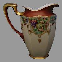Hutschenreuther Uno Favorite Bavaria Fruit Design Pitcher (c.1910-1930's)