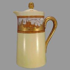 "Porcelain Blank ""Cathedral Scene"" Design Syrup Pitcher (Signed ""Helen Majo""/Dated 1909) - Keramic Studio Design"