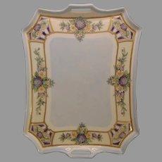 """Bavaria Porcelain Enameled Floral Design Serving Tray (Signed """"A. Mills""""/c.1910-1930's)"""
