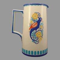 """Lenox Belleek Enameled Bird & Floral Design Pitcher (Signed """"J.S.P.""""/Dated 1922)"""