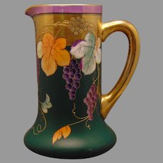 "Pickard Studios ""Autumn Grapes & Matte Green"" Design Pitcher (Signed ""Lind""/c.1905-1910)"