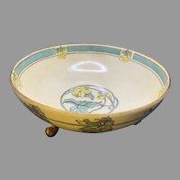 "P&P Limoges ""Cucumber Vine Motif""/Floral Design Footed Bowl (Signed ""C.N. Parfitt""/c.1910-1930's) - Keramic Studio Design"