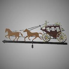 Vintage Folk Art Weathervane of a Western Stagecoach