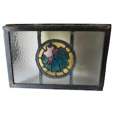 Antique Stained Glass Window with Sea Shell Motif