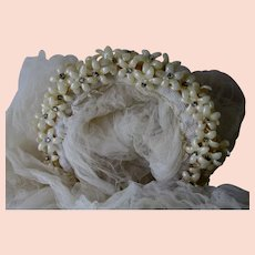 Pretty Circa 1949 Wedding Veil with Wax Flowers & Rhinestones