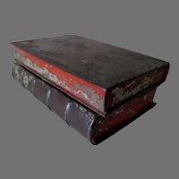 Antique Primitive c1870s Tole Book Shaped Box, Secret Compartment Box