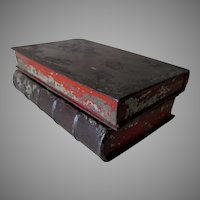 Antique Primitive c1870s Tole Book Shaped Box, Secret Compartment Box