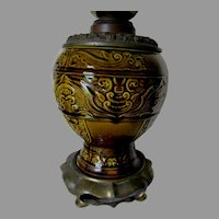 Antique Majolica Aesthetic Movement Oil Lamp Base with Bronze Font