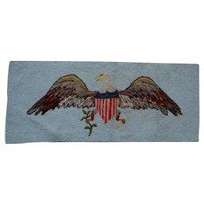 Vintage Folk Art Hand Hooked Rug, Table Mat, Patriotic Bald Eagle, Flag, Shield
