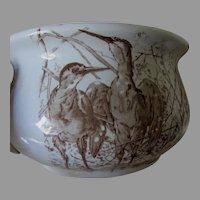 Antique Staffordshire Transferware Chamber Pot with Bird Motif