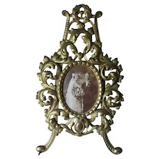 Pretty Antique Victorian, Edwardian Picture Frame with Wedding Photo